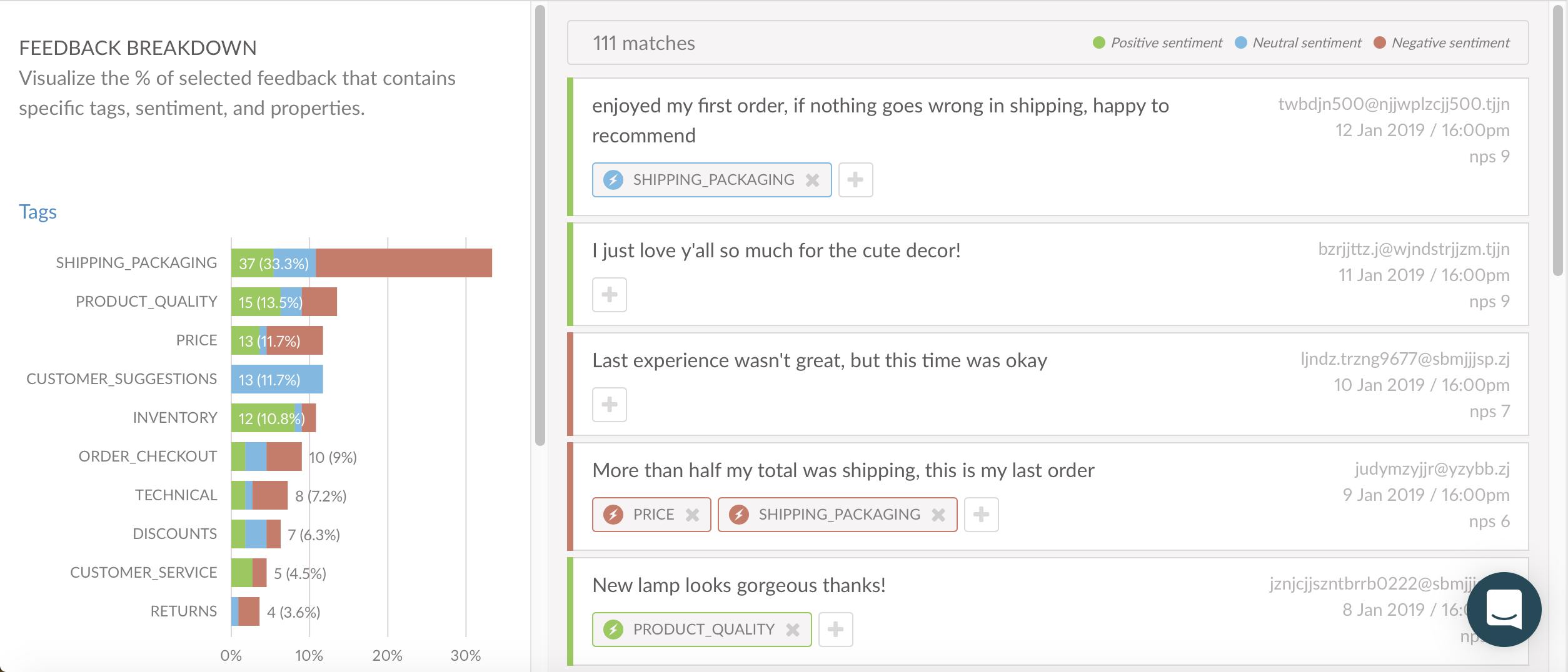 Categorized Feedback via Text Analytics - Wootric dashboard